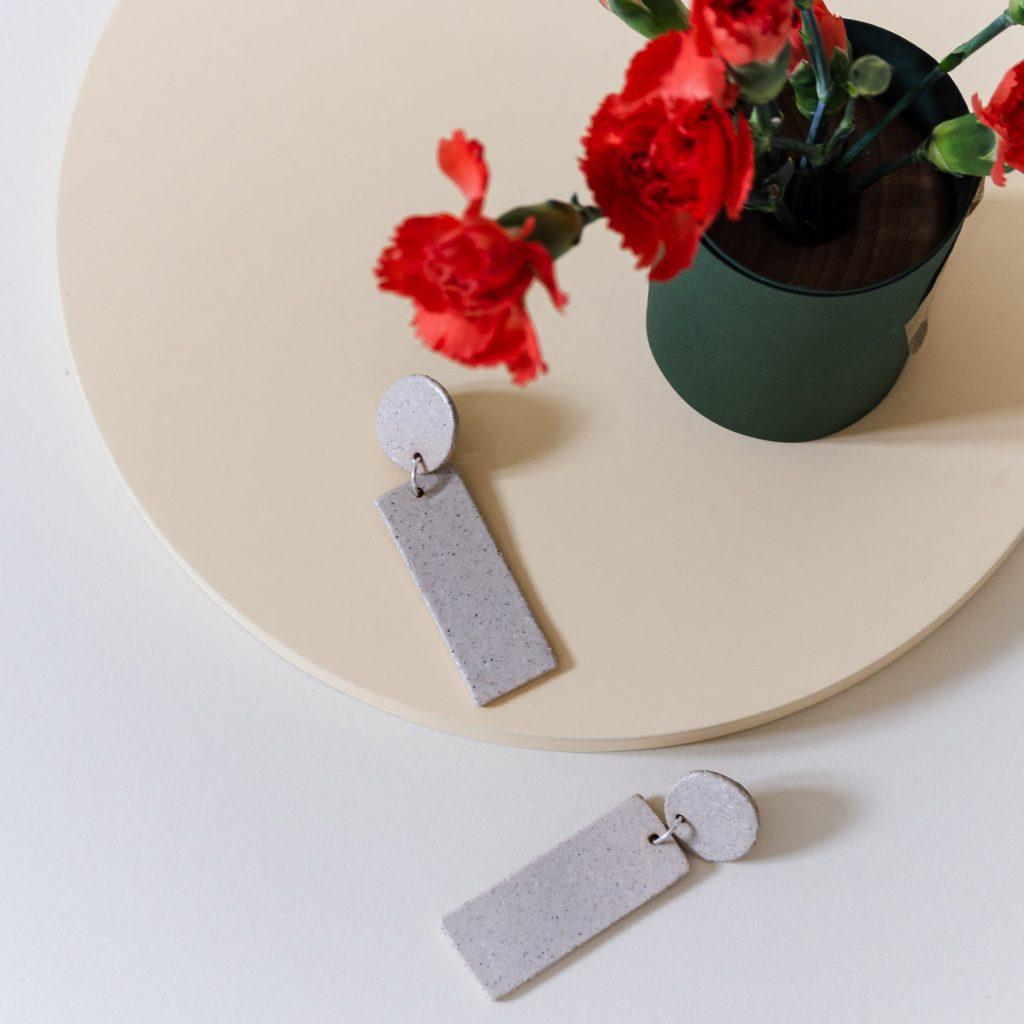 Pendientes cerámica rectángulo chamotte