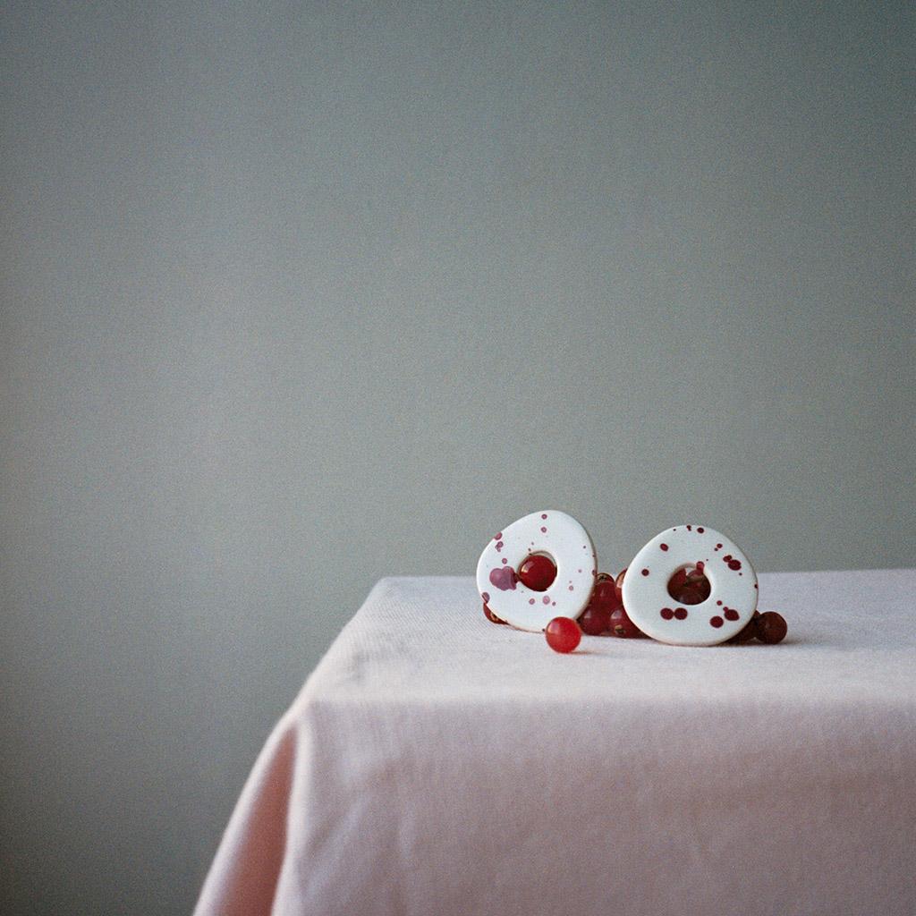 Pendientes cerámica aros salpicados