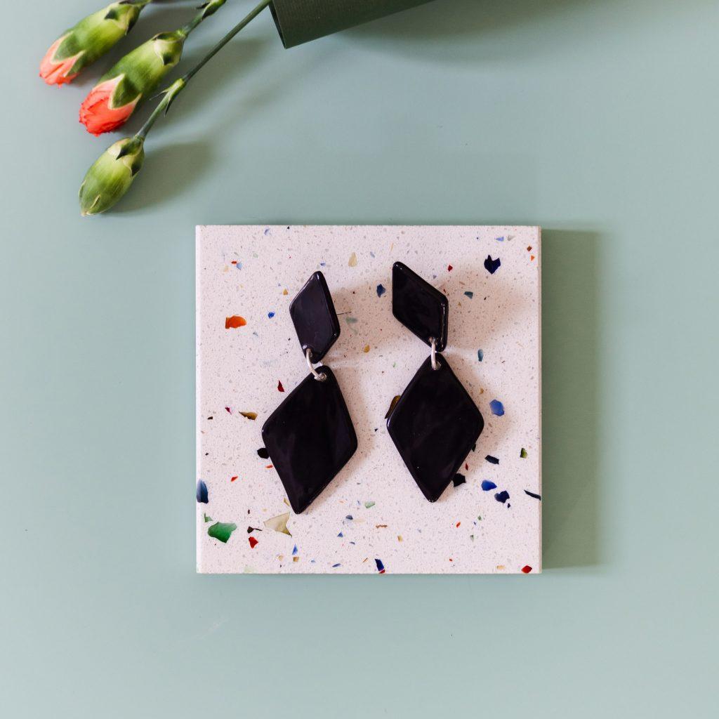 Pendientes de cerámicarombo negros