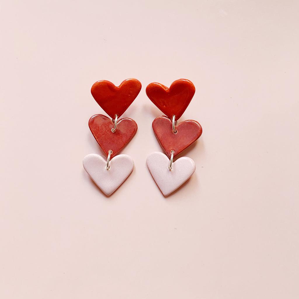 Pendientes cerámica corazones