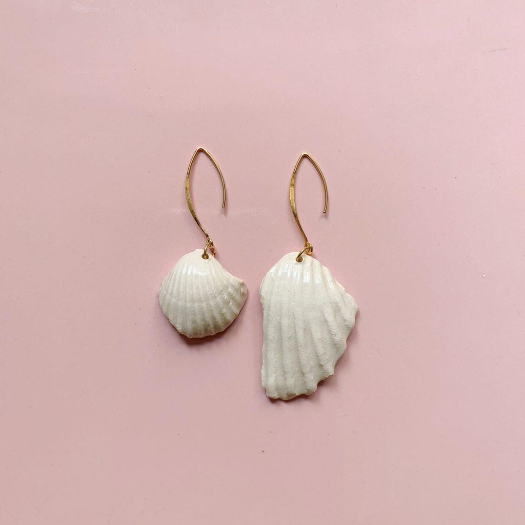 Pendientes porcelana concha de mar